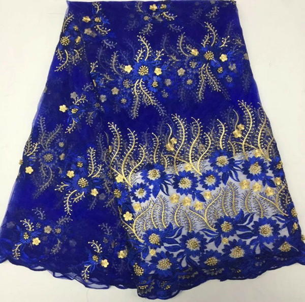 5 Yards/pc Beautiful royal blue french net lace and gold beads embroidery african mesh lace fabric for dress BN82-4