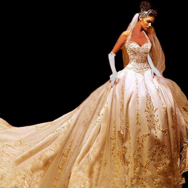 2018 Gorgeous Gold Embroidered Cathedral Train Wedding Dresses Halter Sweetheart Corset Back Gothic A Line Bridal Gown