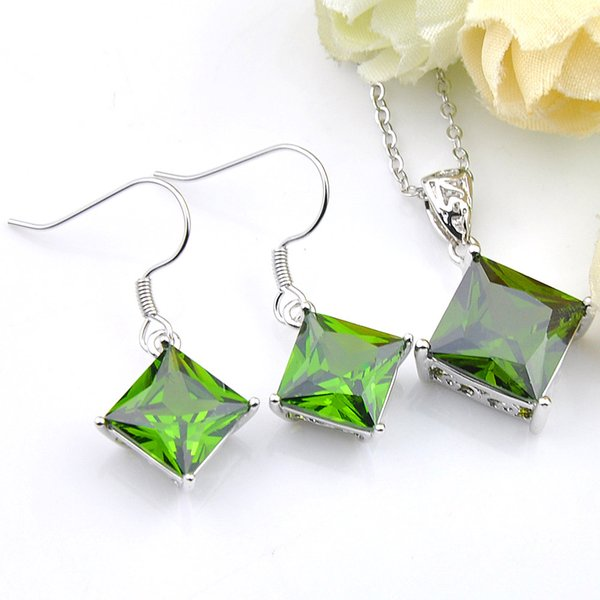 New 925 Silver Square 5 Set/Lot Wholesale Peridot Zircon Gems Silver Chain Necklaces Pendant Earrings Wedding Party Holiday Jewelry Sets