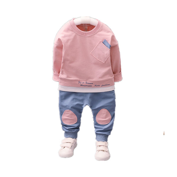 2018 Autumn Baby Girls Boys Clothing Sets Casual Sports Style Infant Cotton T Shirt+Pants 2 Piece For 0-5Y Children Kids Suits