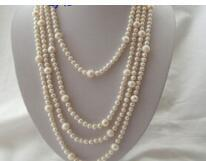 """Free shipping >@@> N3585 classic long 100"""" 7mm 10mm round white freshwater cultured pearl necklaceyle Natural Fine jewe &"""
