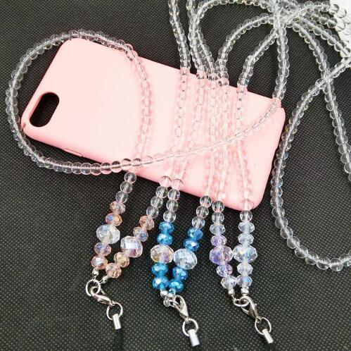40cm Bling Diamond Cell Phone Lanyard Luxury Charms Colorful Long Neck ID Cards Mobile Bag Rope Chain Crystal Neck Strap For MP4 MP3 100pcs
