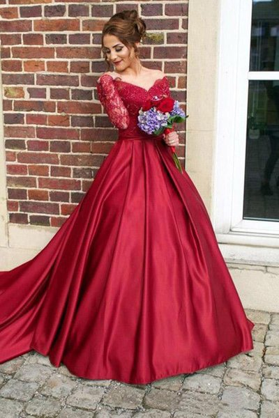 2018 New Dark Red Evening Dresses with Long Sleeves Sexy Off the Shoulder Sequins Lace Satin Prom Ball Gown Plus Size Custom Made