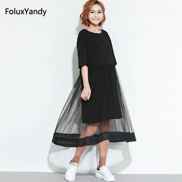 99601cb913c4 Lace Mesh Dress Plus Size 3 XL Women Casual Short Sleeve Summer Midi Dress  Black Vestidos