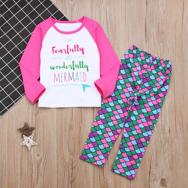 1-6 T Meninas sereia padrão roupas 2 pc define letras impressas raglan manga Longa camiseta de manga + peixe escala calças bonito rosa crianças homewear