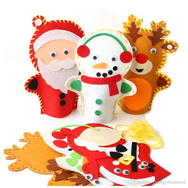 Wholesale-1psc 20*28cm Easy Crafts Non-Woven Cloth Christmas snowman Deer Hand Puppet Child Creative Activity DIY Sewing Toy EVA sticker