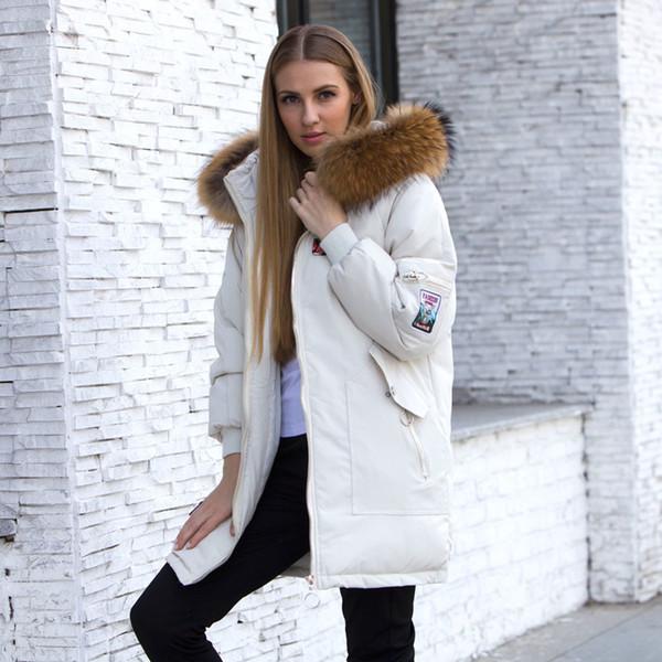 2019 Female Jacket Large Real Raccoon Fur Winter Jacket Women 2018 Warm Thicken Hood Winter Coat Women's Cotton Down Parka Plus Size