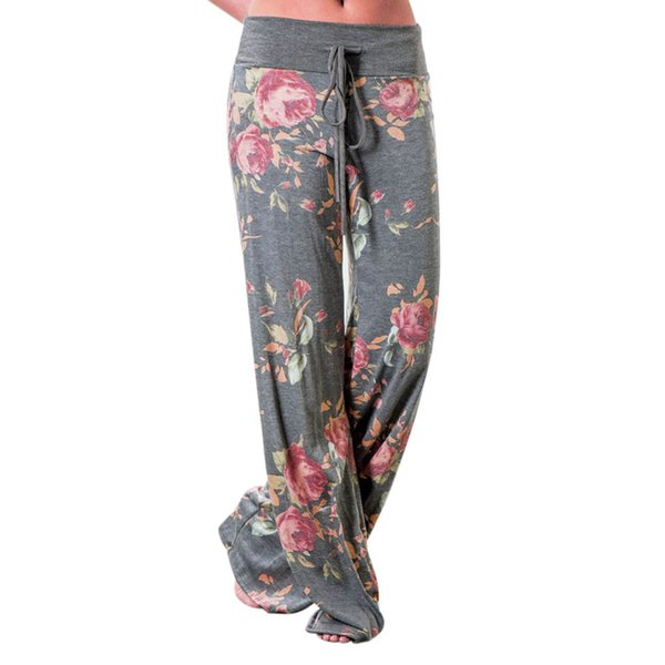 8e7607979062c5 2017 Women Floral Prints Drawstring Wide Leg Pants Leggings Full Length  Drawstring Flat Mid Waist vadim feminina pantalon femme