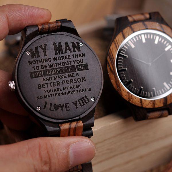 Compre Grabado En Madera Reloj Hombres Padrinos De Boda Relojes Personalizados Regalo De Aniversario Regalo De Aniversario Grandes Regalos Para Hombre