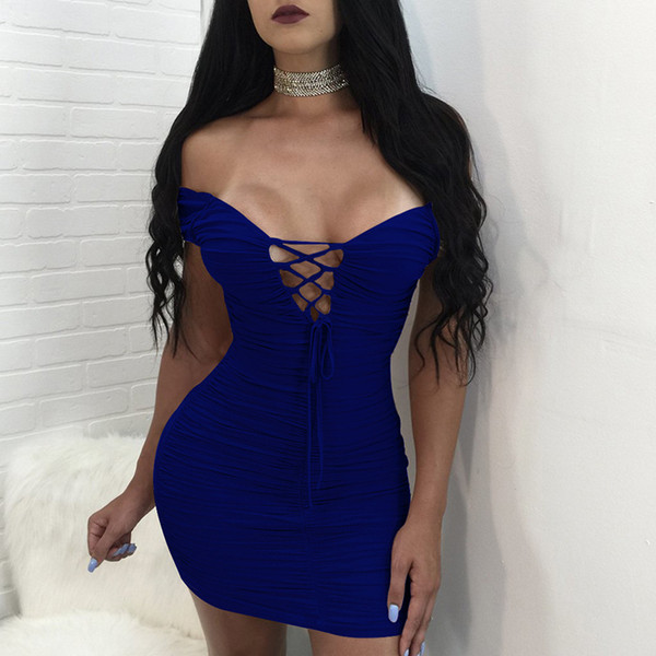 2018 European and American women's sexy deep V-lace dress wrinkled bandage skirt