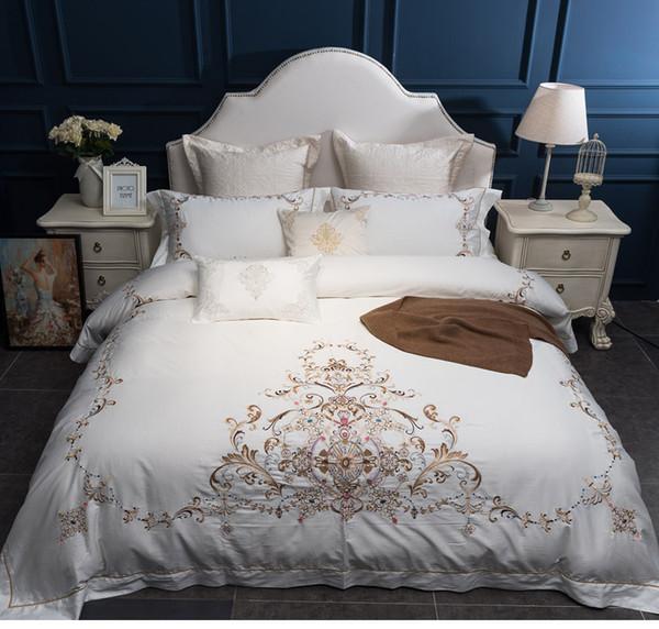 Luxe 80S coton égyptien couverture broderie royale Ensembles de literie Reine Roi mariage couette draps de lit 4pcs blanc mis Pillowcases