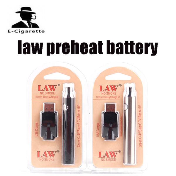 Paquete de ampolla de batería de precalentamiento de la ley HOT con kit de cargador USB 1100/650 / 350mah Precalentamiento de la pluma O Brote táctil Voltaje variable Batería de precalentamiento