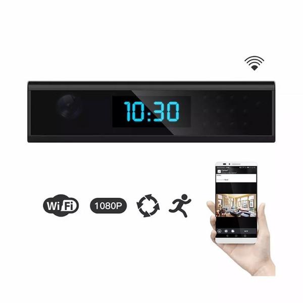 1080P WiFi Kindermädchen Kamera Uhr mit 165 Grad Wireless Home Security Cam Bewegung aktiviert Wand / batteriebetrieben, App Control Remote