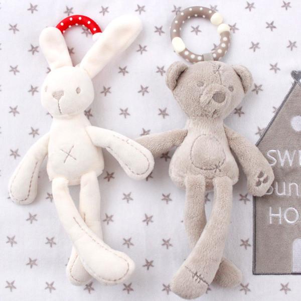 cute Baby Crib Stroller Toy Rabbit Bunny Bear Soft Plush infant Doll Mobile Bed Pram kid Animal Hanging Ring Ring Color Random free shipping