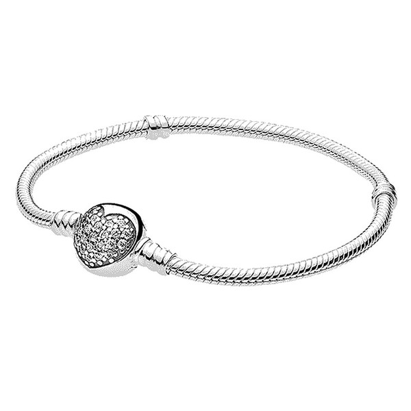 Authenetic 925 Sterling Silver Bracelet Crystal Love Heart Clasp Snake Chain Bracelets Bangle Fit Bead Charm DIY Jewelry