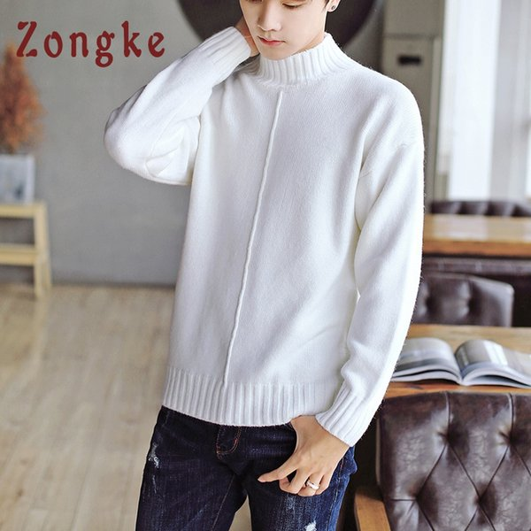 Zongke White Turtleneck Sweater Men Pullover Casual Knitted Male Sweater Men Gray Mens Sweaters 2018 Man Winter Korean Clothing
