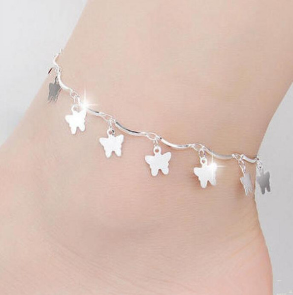 New Foot Jewelry Anklets Hot Sale Silver Anklet Link Chain For Women Girl Foot Bracelets Fashion Jewelry Wholesale Free Shipping