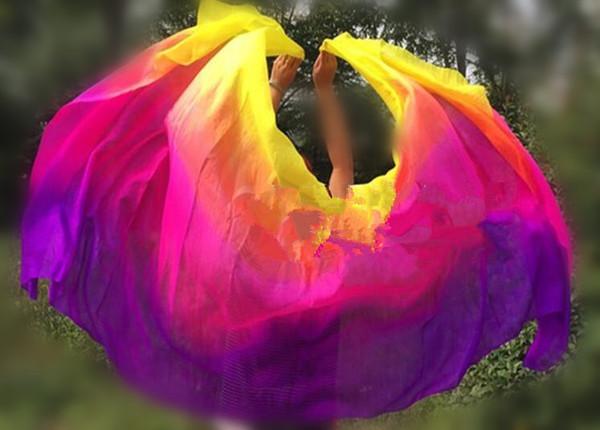 Customized Belly Dance Silk Veils 200cm 250cm 270cm Hand Thrown Scarf Shawl Yellow Orange Pink Purple Gradient Free Shipping