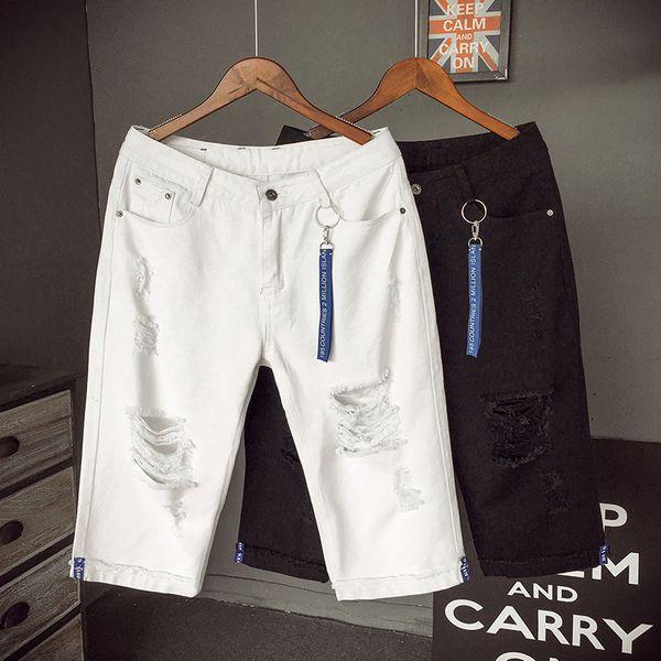 LEDINGSEN New Designer Ripped White Denim Shorts Bermuda Distressed Hole Black Jeans Shorts Cotton Fashion Summer Size 40