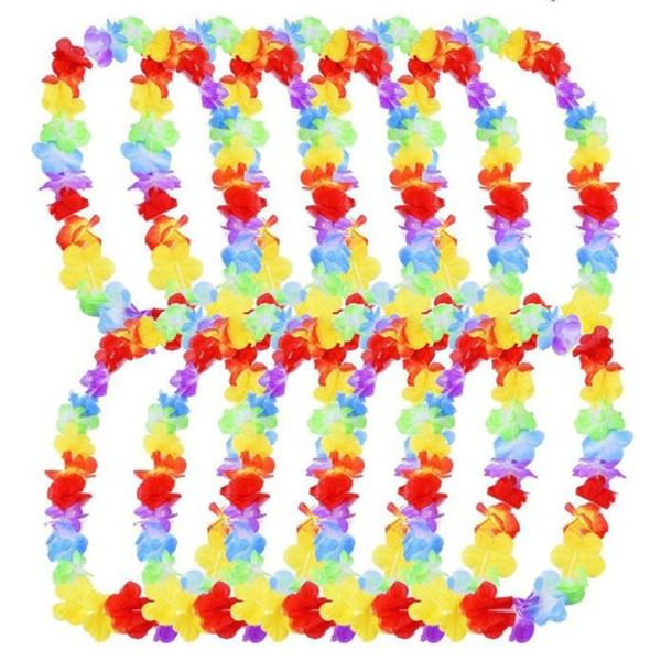 Hawaiian Flower leis Garland Necklace birthday jungle Party event Decor hawaii party decorations Flowers DIY Wreath