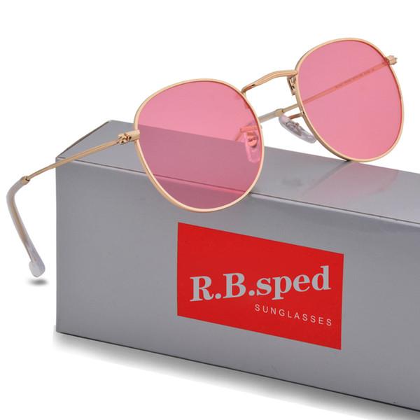 Yuvarlak Güneş Gözlüğü Erkek Kadın Gözlük Güneş Gözlükleri Marka Tasarımcısı Altın Metal Çerçeve Daha Kaliteli Kahverengi Kılıfları Ile uv400 Lensler ve kutu