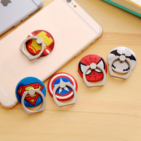 best selling Phone holder for iphone 8 6 7 galaxy Note 8 Universal Superhero patterns Ring Holder 360 Rotating Finger Bracket