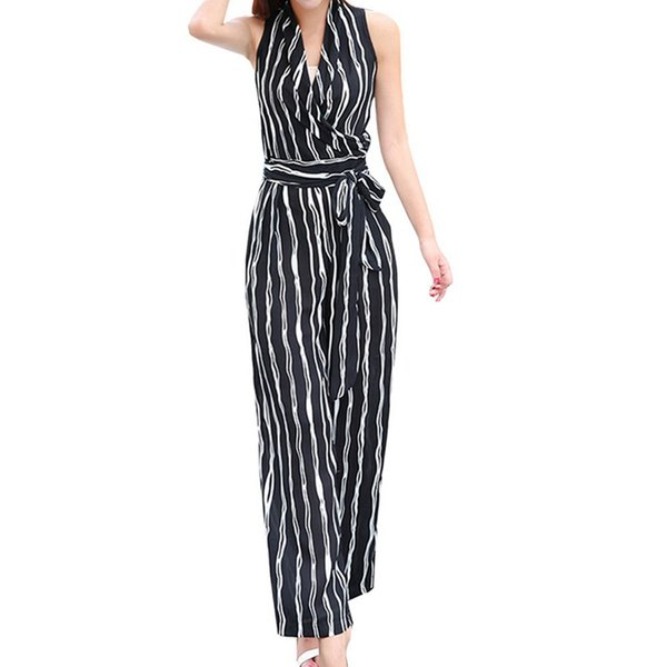 New 2018 Summer Sexy Jumpsuits Romper Women Sets One Pieces Workout Striped Halter Elegant Casual Bodycon Ladies Playsuits