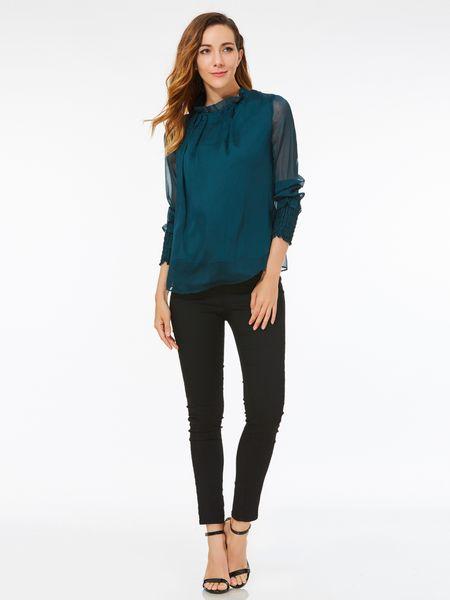 113de7b8b01 Dark Green Summer Casual Chiffon Blouse for Women 2018 Fashion Plus Size  Cheap Women s T-Shirt Solid Shirts Summer Tops Blusas Femininas
