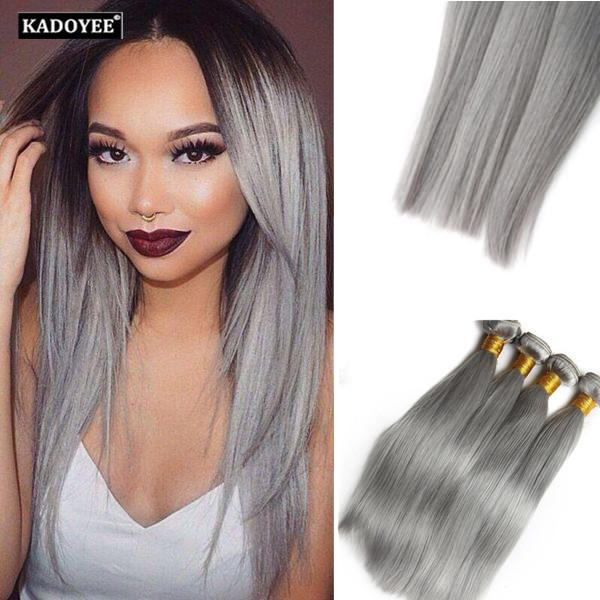 Best Brazilian Straight Hair Silver Hair All Grey Color 3Bundles For Full Head 100% Human Virgin Remy Hair No tangle No shedding