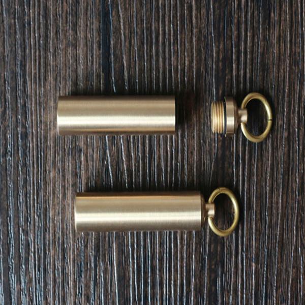 Outdoor Waterproof Brass Seal Box Pure Brass Mini Metal Medicine Moisture-Proof Warehouse EDC Tool Equipment Support FBA Drop Shipping G855F