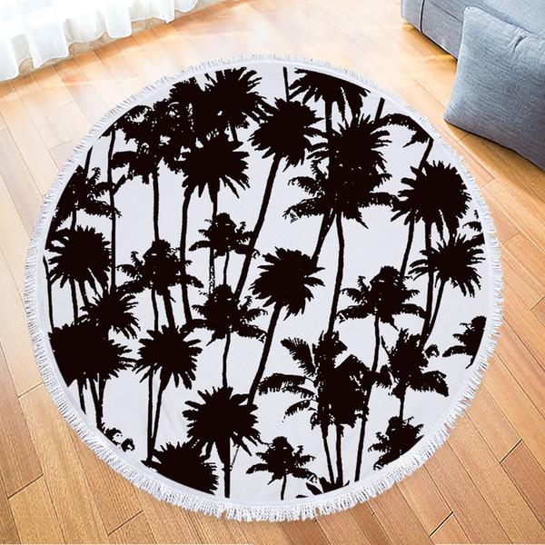 Moderna moda tropicale albero di banane foglia stampato grande rotonda asciugamani da spiaggia asciugamano in microfibra ananas mandala Serviette de Plage