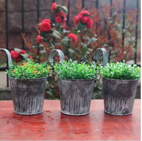 Vintage Retro removable tin bucket flower pot hanging basket pastoral style Wall flower pot tin bucket hanging flower pot