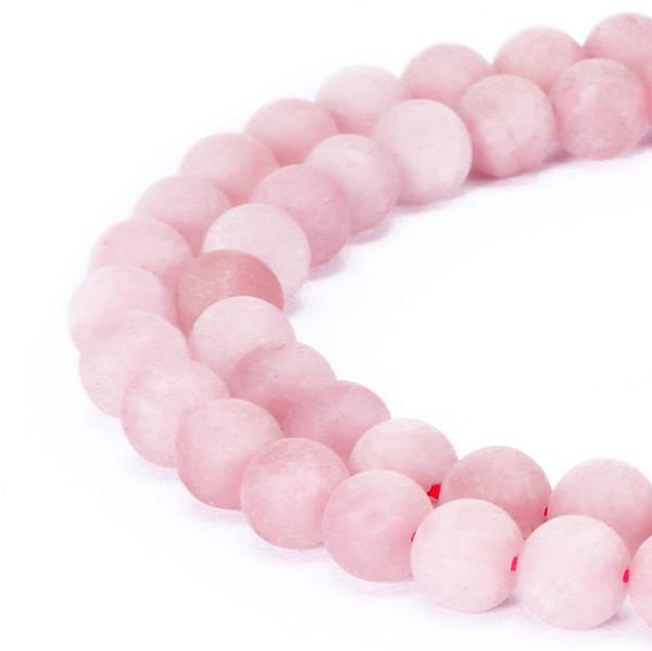 4mm 6mm 8mm 10mm 12mm Contas De Pedra Naturais Rodada Lindo Fosco Rosa Rosa de Quartzo Contas Soltas Para Fazer Jóias Diy pulseira