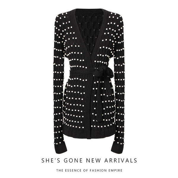 New European heavy industry costly manual pearl hollow-out bump lace-up accept waist skirt knitting cardigan coat female