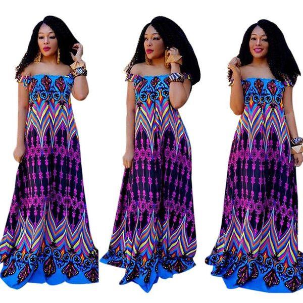2018 Hot Summer Women Dashiki Dress Impresión Clásica Off-Shoulder Maxi Dresses African Printing Long Dress Plus Size