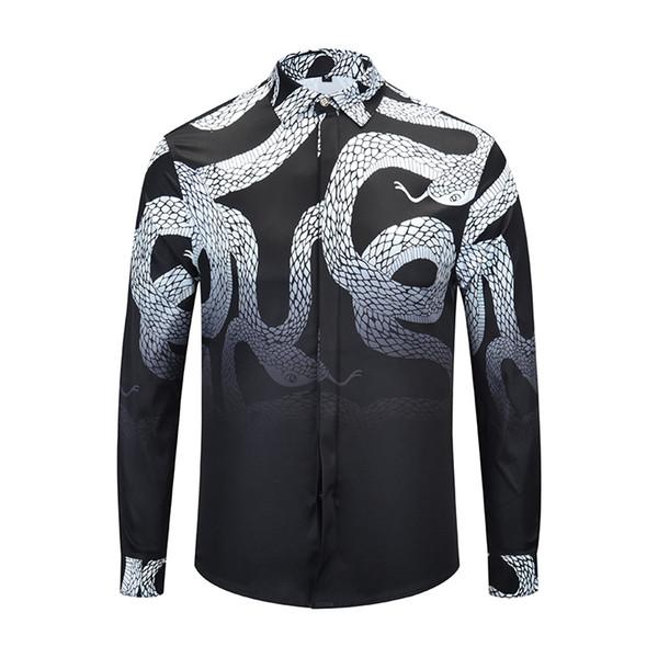 2018 New Luxury Mens Fashion Casual Long Sleeve Shirt 90101 Vintage Designer 3D Print Slim Fit Cotton Lapel Dress Shirts M-XXXL