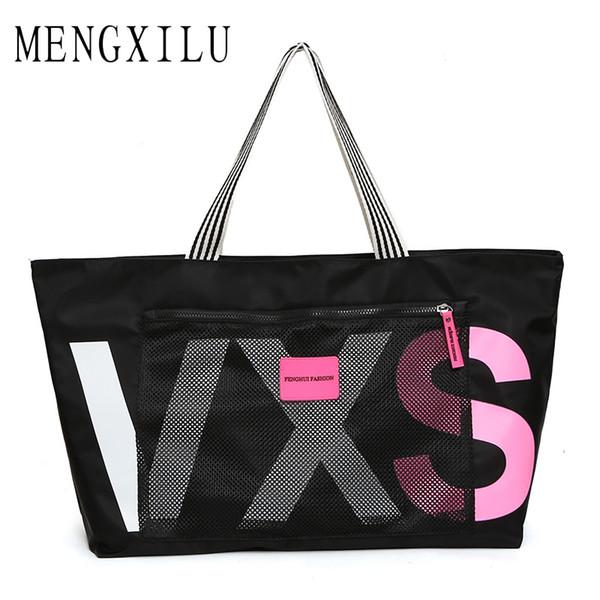 MENGXILU New Ladies Black Travel Bag Sequins Shoulder Bag Handbag Womens Handbag Ladies Weekend Waterproof Portable Wash Bag D18102303
