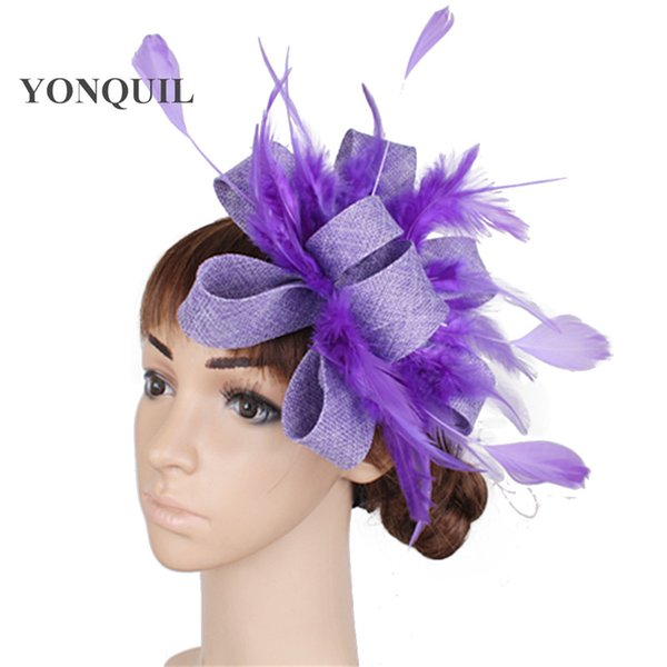 White or multiple colors women party Imitation Sinamay fascinator hair clips with feather accessories ladies wedding headbands supplies