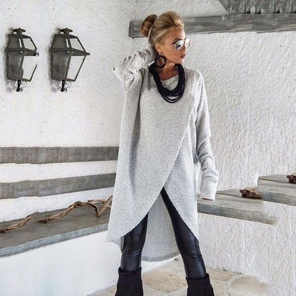 Camicie oversize delle donne di modo di autunno Camicie oversize casuali del O-Collo Camicetta del bordo asimmetrico allentata Camicie dei pullover maniche lunghe
