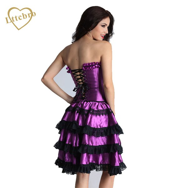 Corset Dress Prom Sexy Plus Size Corsets and Bustiers Lace Up Corset Purple Set Women's Bustiers with Tutu Skirt