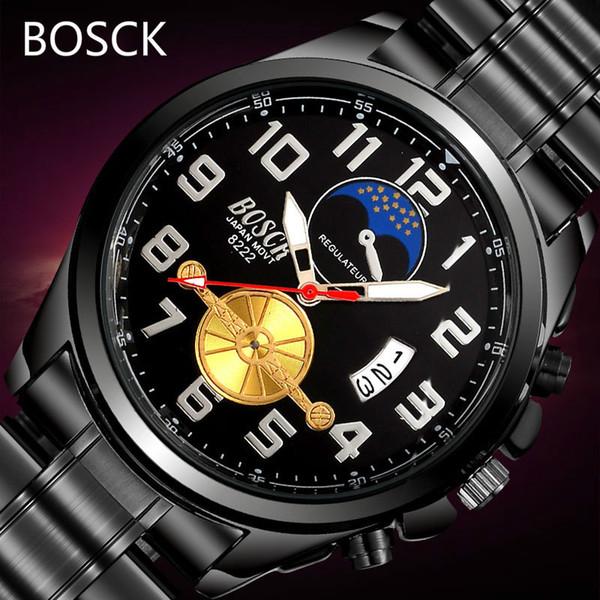 Bosck Watch Mens Quartz Watches Top Brand Luxury Night Stars Leisure Fashion Calendar Date Day Waterproof Male Wrist Watch Reloj