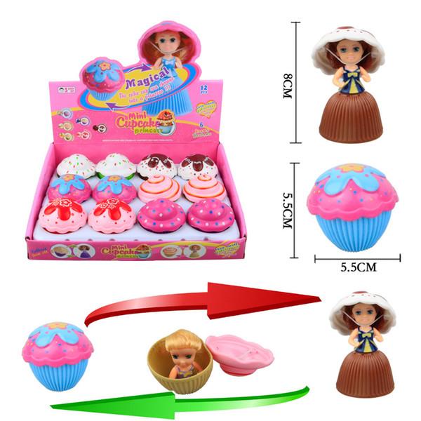 12pc Lot Mini Doll Novelty girl Childrens Toys Mini Cake Girl Cupcake Princess Deformable doll Scented Cake Princess Transform Scented Doll