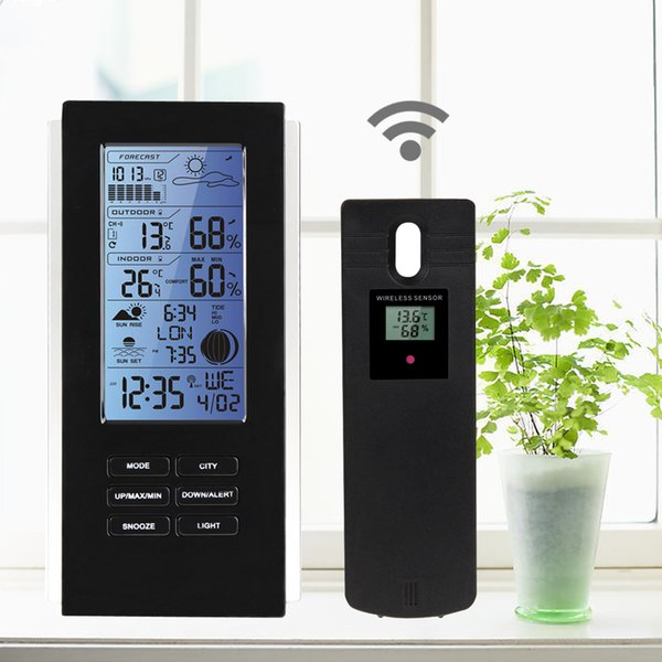 LED Backlight Wireless Weather Station & Sensor Temperature Humidity Barometer RCC with Indoor Outdoor Thermometer Hygrometer Clock TS-72