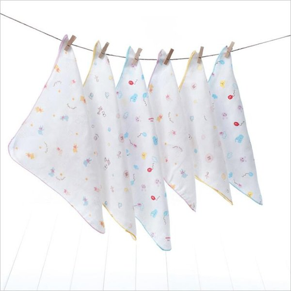 Hot Sale 10PCS Baby Feeding Towel Teddy Bear Bunny Dot Chart Printed Children Small Handkerchief Gauze Towels Nursing Towel
