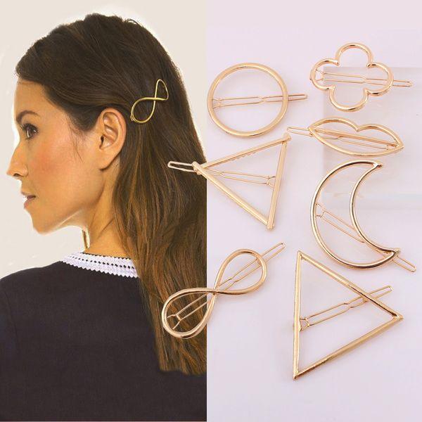 Metal Saç Klip Saç Aksesuarları Kadınlar için Minimalist Dainty Altın Gümüş Hollow Geometrik Metal Firkete Saç Klip Daire Üçgen Ay