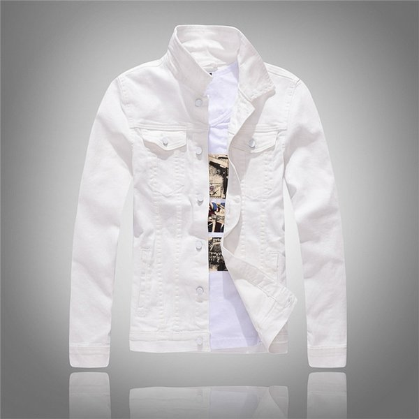 2018 Spring and Autumn New Korean White Denim Jacket Men's Slim Long Sleeve Green Denim Jacket Men's Size M-3XL 4XL