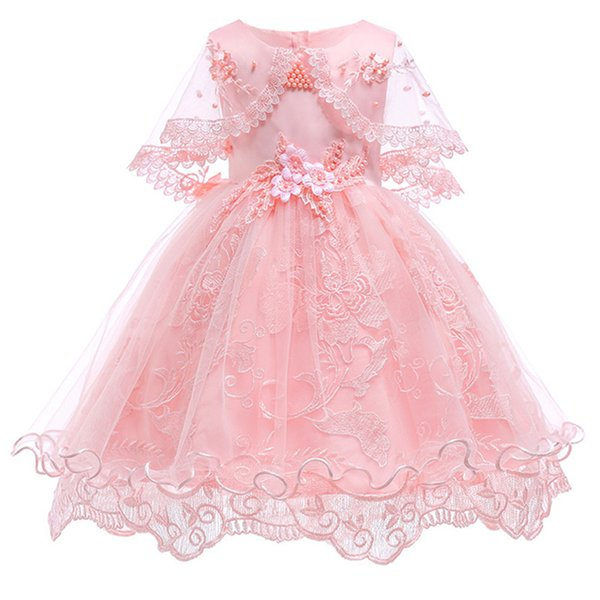 Girl Princess party Dress Birthday wedding clothes Girl Pearl Flower Sleeveless Bridal Gown Prom Dress for Baby Girl clothing