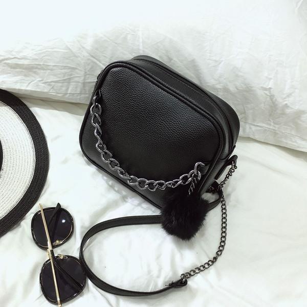 Cadeia Mulheres Saco De Couro Das Mulheres Sacos Do Mensageiro Bolsa de Ombro PU Crossbody Bag com Bola de Pelúcia Brinquedo Bolsa