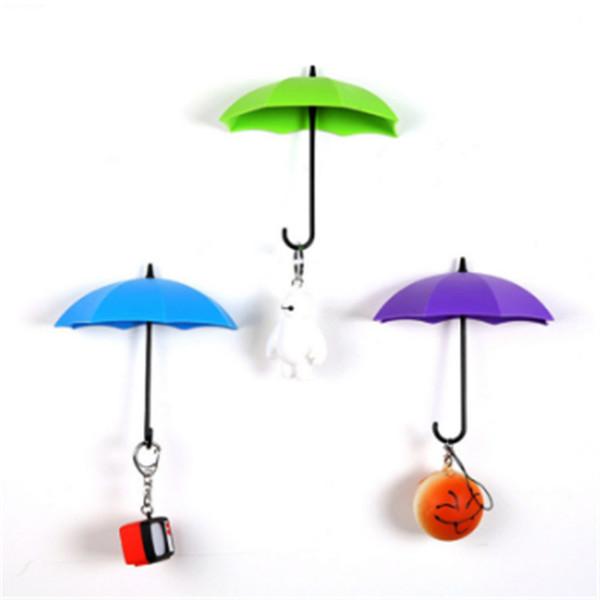 3pcs/lot Umbrella Shaped Creative Key Hanger Rack Decorative Holder Wall Hook Kitchen Organizer Bathroom Accessory free shipoping