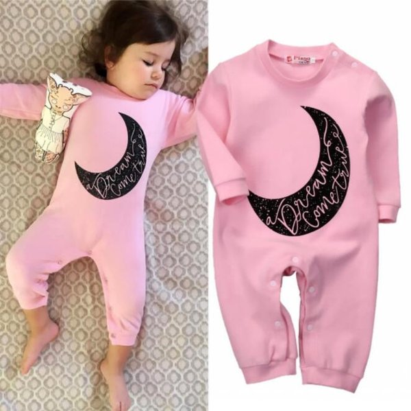 Moda Macacão de Algodão Romper Pijama de Algodão Macacão Do Bebê Bodysuit Coroa Listrada Rosa Vermelho Menino Menina Roupa Dos Miúdos Outfits Terno Da Criança